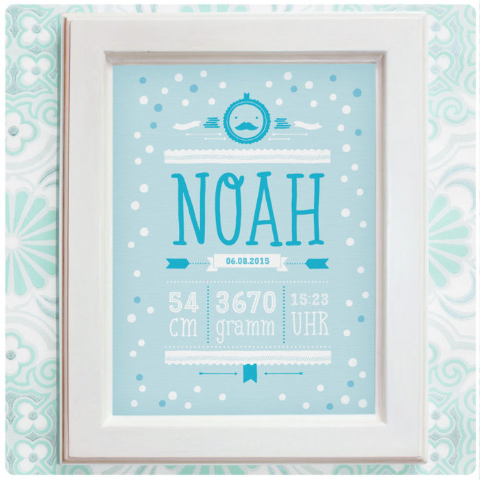Personalisiertes Namensbild Geburtsanzeige für Jungen in Blau