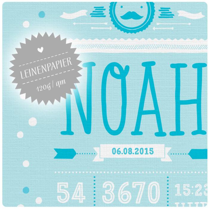 Personalisiertes Namensbild Geburtsanzeige Junge in Blau