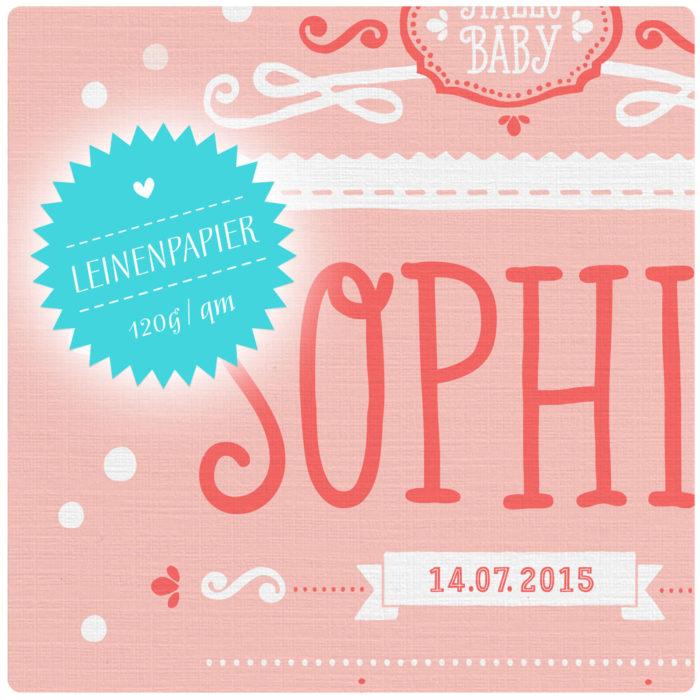 Personalisiertes Rosa Namensbild Geburtsanzeige für Mädchen