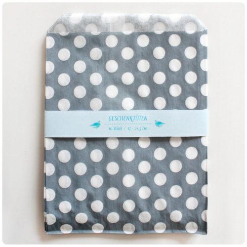 Set 10 Papiertüten grau Punkte 17×21.5 cm