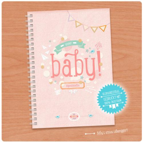 Unser Baby! Rosa Babytagebuch A5 für Mädchen